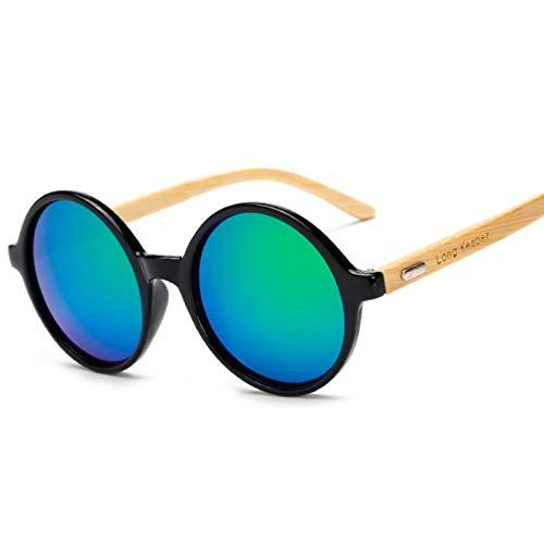 WBAHJBrief Produkte Männer Frauen Sonnenbrille Sonnenbrille Holzlinse Holzrahmen Handgefertigt Rund