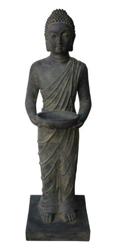 Figura de Buda de pie con Cuenco - para casa y jardín - Altura 100 cm - Negro