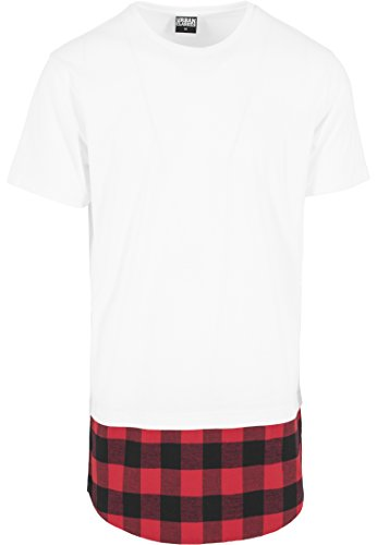 Urban Classics Herren Langarmshirt T-Shirt Shaped Flanell Bottom Tee mehrfarbig (Wht/Blk/Red) Large