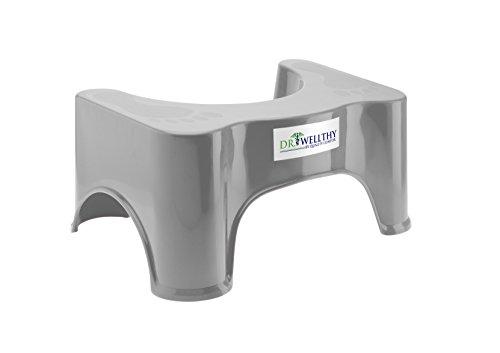Quality Contor Dr. Wellthy - Medizinischer Toilettenhocker 47x32x20cm Grau - Gesunde Darmflora