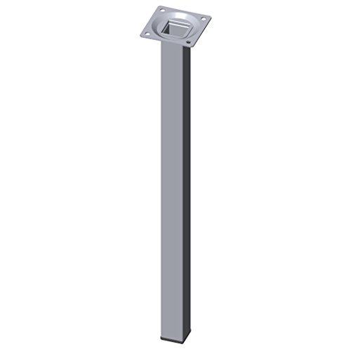 Element System 4 Stück Stahlrohrfüße eckig / Tischbeine / Möbelfüße / inkl. Anschraubplatte / L 40 cm / chrom / 4 Farben / 10 Abmessungen
