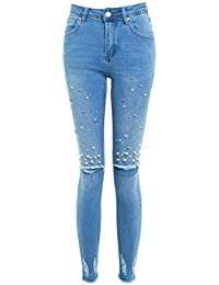 7b6a78432217 SS7 Femmes Perle Slim Fit Jeans Skinny Genou RIP Jeans Taille 10 12 14 6 8