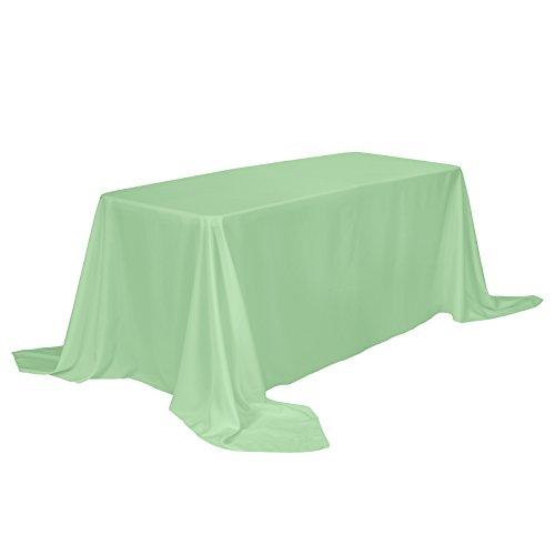 Veeyoo tovaglia rettangolare 100% poliestere tovaglia oblunga per la doccia nuziale morbido tovaglia ovale per la festa di matrimonio ristorante e tavolo da buffet (verde menta, 229x335 cm)