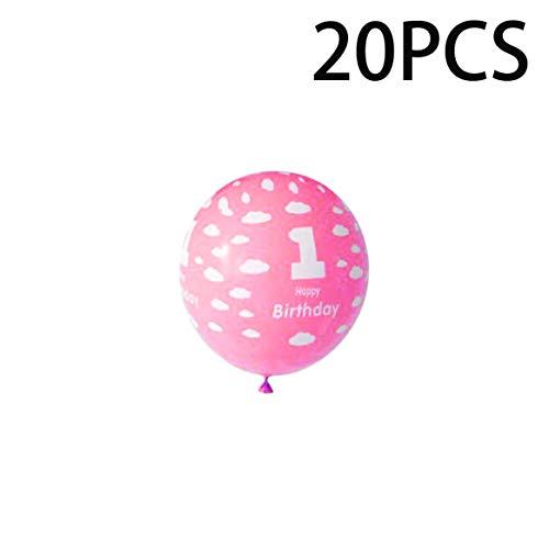 20 Unids / Pack 1 Año de Cumpleaños del Bebé Globos con Número de Decoración de Impresión para Niños Niñas Decoración de La Fiesta de Cumpleaños