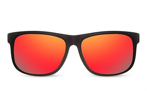Cheapass Sonnenbrille Verspiegelt Recht-Eckig Schwarz Rot-Gold UV400 Real-Revo Hochwertig Plastik Damen Herren
