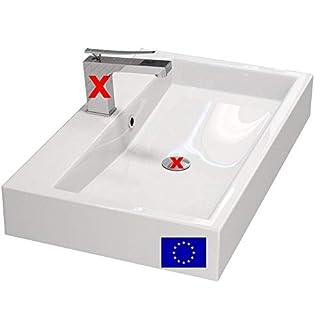 Design Waschbecken zur Wandmontage oder als Aufsatzwaschbecken | 70x42x10cm | Material: hochwertiges Mineralguss | Made in EU | hochwertig verarbeitet