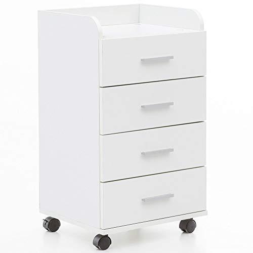 FineBuy Rollcontainer FB13589 40 x 70,5 x 33 cm Weiß | Schreibtisch-Container Rollschrank 4 Schubladen | Moderner Schubladencontainer mit Rollen | Standcontainer Bürocontainer Beistellcontainer (Weiß Kinder Kommode)