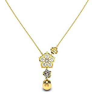 Candere By Kalyan Jewellers 18KT Yellow Gold, Diamond and Pearl Necklace for Women