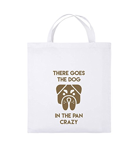 Comedy Bags - THERE GOES THE DOG IN THE PAN CRAZY - Jutebeutel - kurze Henkel - 38x42cm - Farbe: Schwarz / Silber Weiss / Hellbraun