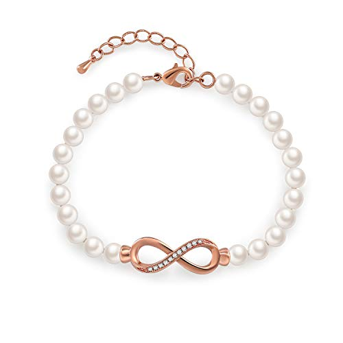 7e5be4c39d8 GEORGE SMITH ❤Forever Elegance❤ White Rose Gold Pearl Bangle Bracelet  Adjustable Infinity Bangle Bracelets