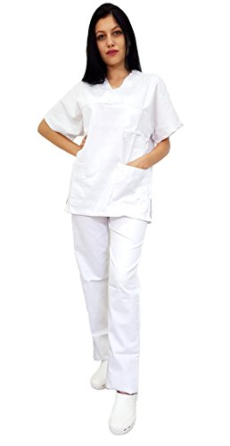 Tecno hospital divisa ospedaliera unisex, oss, estetica, infermiere, casacca e pantalone, personale alberghiero, personale medico, operatore sanitario, operatore scolastico bis (bianco, s)