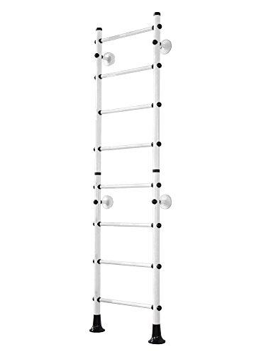 NiroSport FitTop M4 Sprossenwand Indoor Klettergerüst für Kinder und Erwachsene Turnwand Kletterwand, 210 cm, TÜV geprüft, einfache Montage, max. Belastung bis ca. 130 kg, Made in Germany (Weiß)