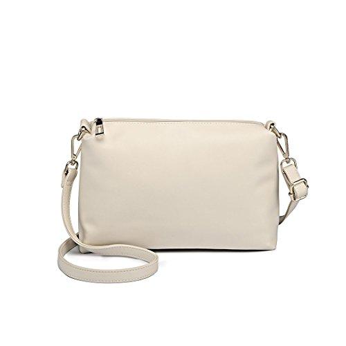 Miss LuLu Damen Handtaschenset Leder Schultertasche Shopper Hobo Totes Umhängetaschen Beuteltote Set 1435-1 Beige