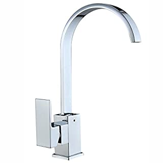 Hododou Kitchen Sink Taps Mixers Square Single Lever Monobloc Chrome Brass Waterfall Flat Spout Modern Swivel With Hoses And Fittings