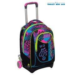 TROLLEY SEVEN NEW JACK - SWAG GIRL - Nero Rosa - SGANCIABILE e LAVABILE - Scuola e viaggio