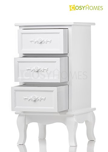 x1 WHITE ROSE WOODEN BEDSIDE TABLES CABINET 3 DRAWERS NIGHTSTANDS TABLES,BEDROOM FURNITURE