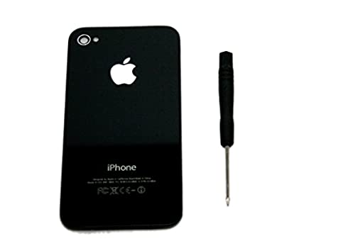 Apple iPhone 4S Backcover Glas Batteriedeckel Black (with Silver Apple
