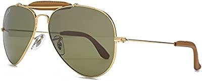 Ray-Ban Gafas de sol de aviador arte en Arista de cuero marrón de oro y luz polarizada RB3422Q 001/M9 58