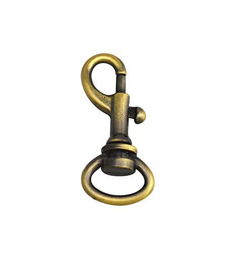 wuuycoky 1,3cm Ring Innendurchmesser Oval glänzend Messing antik klein Gun Schnalle Karabiner Verschlüsse Karabinerhaken Haken, Zinklegierung, 15 Pcs -