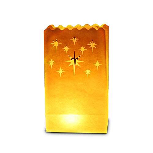30 x sac de bougie lumière de thé en papier ignifuge décoration - motif nuit étoiles