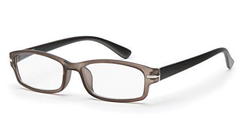 Filtral | Hochwertige eckige Lesebrille aus Kunststoff | Vollrand mit Federbügel in grau/schwarz matt, 1,5 dpt, F4541396