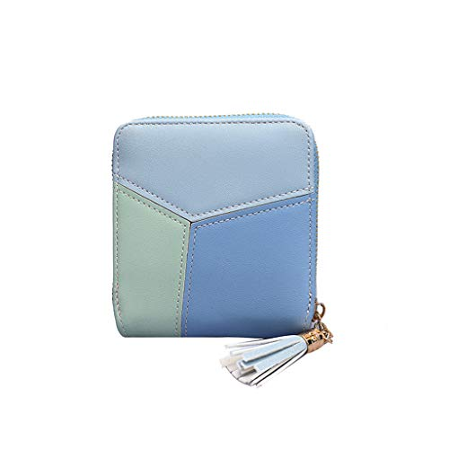 XNBZW Damenmode Geometrie Dreifarbige Kontrastnähte Design Süßes Weiches Leder Geldbörse Mit Mehreren Kartenpositionen Kurze Brieftasche -