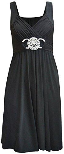 Chocolate Pickle ® New Womens Plus Size Buckle Gürtel Tie Zurück knielangen Abend Kleid