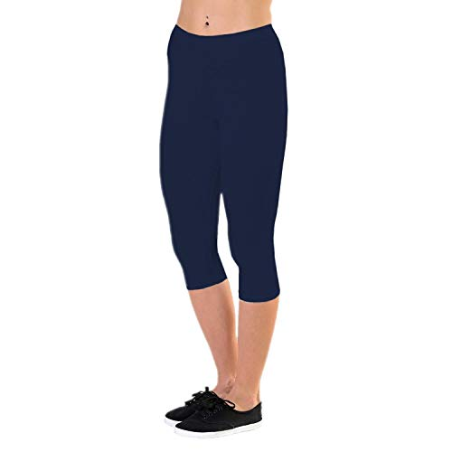 Alkato Damen Leggings 3/4 Capri Blickdicht Stretch, Farbe: Dunkelblau, Größe: 42 Blaue Capri Leggings