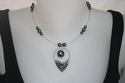 collier swarovski nacré vert reflets avec pendentif breloques pastilles sur fil câblé argenté (swarovski