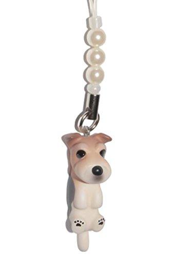Fox Terrier a Pelo Duro [ PetLovers ] 92 Cani Kawaii Cordino-Charm per cellulare e informatica [White beads] DN-3501