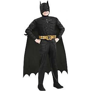 Batman Mit Muskeln Kinder Kostüm - Batman Begins Deluxe mit Muskeln Kinder Karneval Fasching Kostüm 164