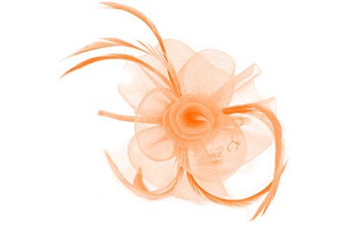 Inca 4319 Fascinator mit Netzblume und Federn, auf schmalem Haarreif, Pink - Braut Hüte Mutter Der