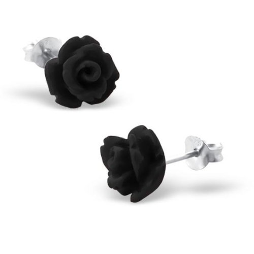 Katy Craig - 12 mm, Black Rose-Orecchini a perno in argento Sterling