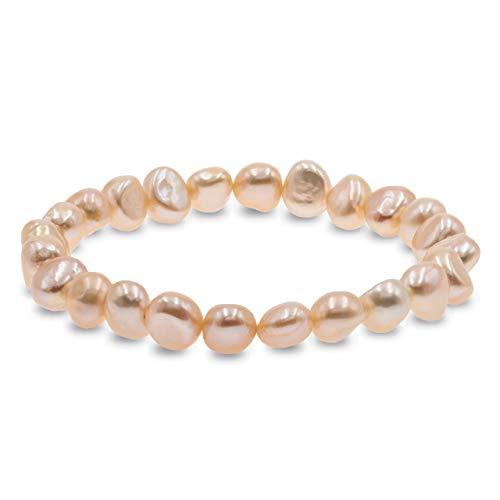 Secret & You Pulsera de Mujer de Perlas Cultivadas de Agua Dulce Blancas y de Colores de 8-9 mm Barrocas 22 Perlas en Total   Pulsera elástica de 18 cm.