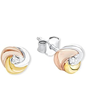 s.Oliver Damen-Ohrstecker Knoten Tricolor 925 Silber teilvergoldet Zirkonia weiß-2012513