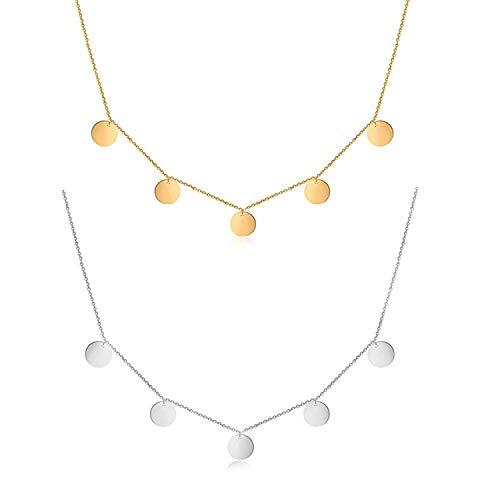 PPX 2 Piezas Ladies 16 Coin Collar en Plata y Oro, Collar de Acero Inoxidable Gargantilla con Borlas Redondas y Lentejuelas para Cumpleaños, Amistad, Joyas, día de la Madre, Regalo con Caja