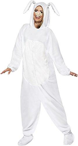 Smiffys, Unisex Hasen Kostüm, All-in-One mit Kapuze und Nase, Größe: L, (White Kostüme Halloween Rabbit)