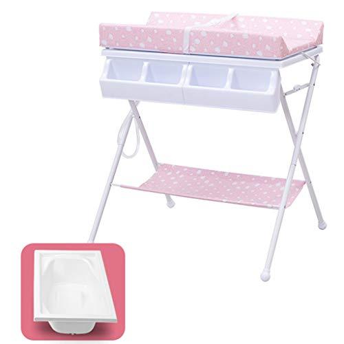 ZQ Wickelaufsatz Folding Wickeltisch mit Badewanne und Lagerung, Wickelkommode Wickelkommode für Säuglings Cross Leg Style, Blau