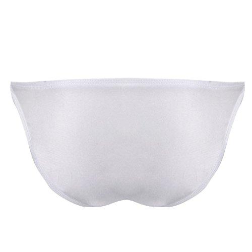 FEESHOW Homme Lingerie Underwear Caleçon Slip Bikini Brief Avec Fixation à Cordes Taille Basse Blanc