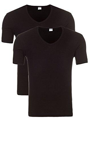 Yazubi 3er, 2er oder 1er Pack Slim Fit Basic Herren T-Shirt mit V-Ausschnitt 2er Pack schwarz (1001)