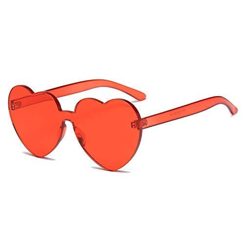 ZHAS High-End-Brille Nette herzförmige Sonnenbrille Frauen Randlose Sonnenbrille Damen Bunte Klare Linse Brillen Uv400 Personalisierte High-End-Sonnenbrille Rot