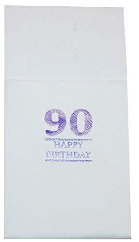 (Servietten Happy Birthday Taschen-Faltung, Gold/Silber, 20 Stück 40cm x 30cm Cutlery Fold Age 90 Silver Foil)