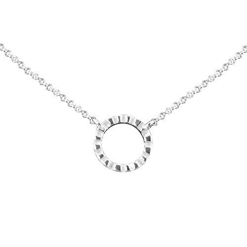 Anhänger Ring - white Stripes mit Silberkette   Kette und Anhänger aus 925 Sterling Silber   Silberanhänger   Geschenk