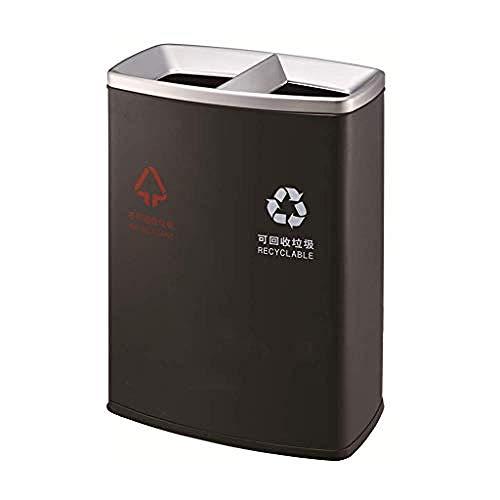 FREEDROM Metall Schwarz 2 in 1 Papierkorb Mülleimer 2 x 30 l Innenfach Abschnitt Müll Küche Eco Abfall Mülleimer (Mülleimer 2 Abschnitt)