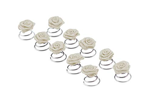 10 x Rosen Curlies - Brauthaarschmuck - Curlie - Haarschmuck | Weiss