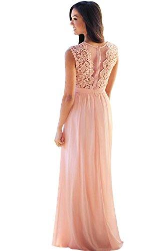 Babyonline® Damen Kleid Festliche Kleider Brautjungfer Hochzeit Cocktailkleid Chiffon Faltenrock Elegant Langes Abendkleid