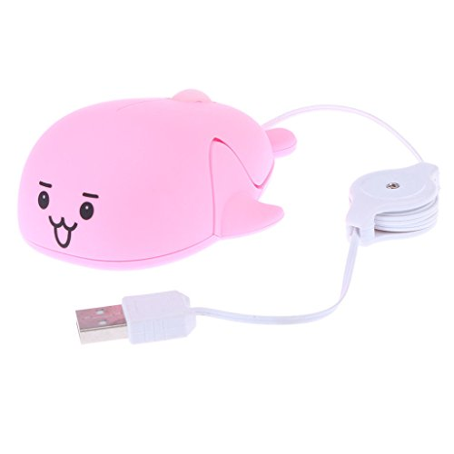 ELECTROPRIME Retractable Portable USB Optical Scroll Wheel Cute Mouse Mice for PC Pink