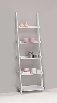 LEITERN White 5-Tiered Ladder Shelf Bookcase Display Unit