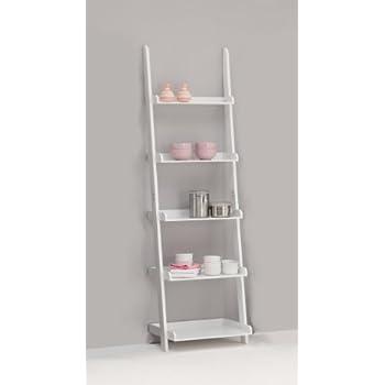 leitern white 5 tiered ladder shelf bookcase display unit kitchen home. Black Bedroom Furniture Sets. Home Design Ideas
