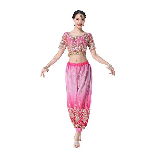 Brothers Womens Blues Kostüm - Z&X Lady Professional Belly Dance Kostüm, EIN-Schulter Wide-Bein Pants Dance Sets Polyester Fiber (Polyester) Lake Blue,L